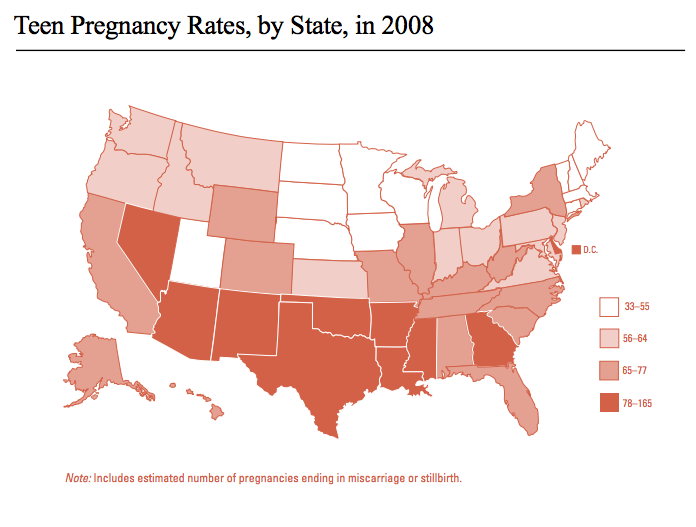 Teen Pregnancy Rates, by State, in 2008